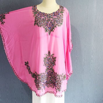 Pink Floral Short Caftan Dress Moroccan Evening Wear Gold Embroidery Blouse Dress Dubai Abaya Sequin Maternity Blouse