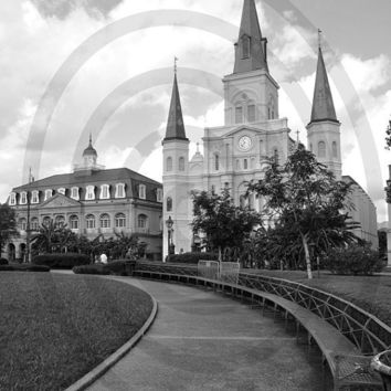 Black and White Photographs St Louis Cathedral by LeMaisonBelle