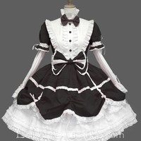 Lolita White Black Cotton Stand Collar Long Sleeves Knee-length Bow Splicing Dress