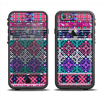 The Pink & Teal Modern Colored Aztec Pattern Apple iPhone 6 LifeProof Fre Case Skin Set