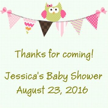 Personalized Owl Baby Shower Thank You Favor Tag