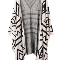 Women Casual Ethnic Vintage Losse Cardigan Stripe Tassels Shawl Knitwear Coat