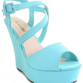 Mint Green Strappy Criss Cross Wedge Platform Sandal