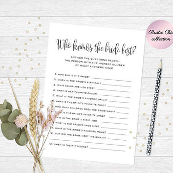 Who knows the bride best question game, Printable bridal shower game who knows the bride best, Funny bachelorette party games, Game Download