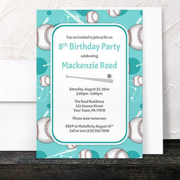 Teal Baseball Birthday Party Invitations - Sports themed pattern with Baseballs Bats and Baseball Diamonds - Printed Invitations