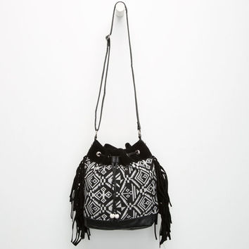 Ethnic Print Fringe Bucket Bag Black One Size For Women 25596510001
