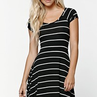 LA Hearts Striped Cross Back Dress - Womens Dress - Black