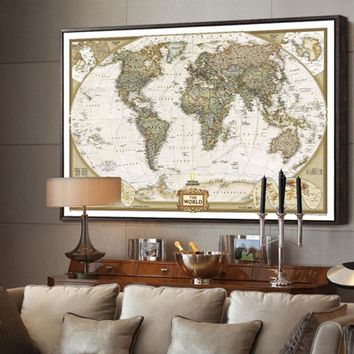 Nostalgia Style Global Map Wall Stickers Vintage Retro Kraft Paper World Map Antique Poster Wall Sticker Home Decora 69*51.5cm