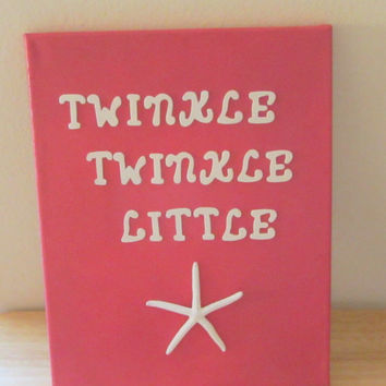 Beach Decor Nursery Art - Pink - Starfish Canvas - Twinkle Twinkle Little Star