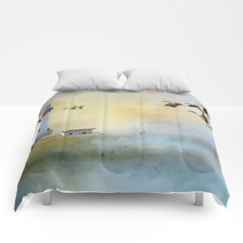 Lighthouse Bay II Comforters by Theresa Campbell D'August Art