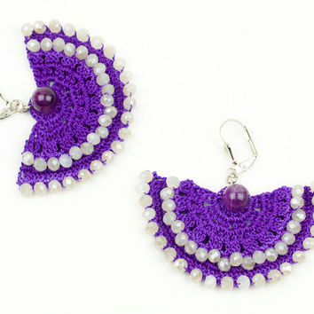 Purple Lace Earrings - Czech Crystal - Amethyst - Statement Jewelry - Chandelier - Carnation - Fiber Art Jewelry - Ottoman Tile