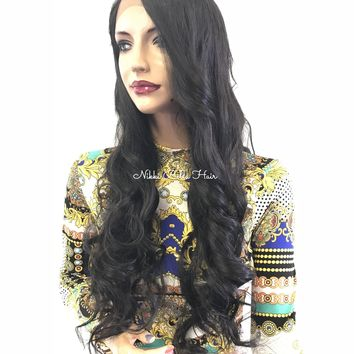Long Dark brown curls lace front wig  - Train to Tokyo 0418 33