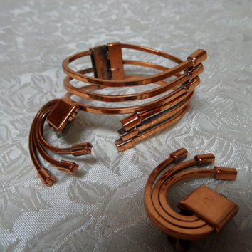 Renoir Copper Modernist Willow Hinged Bracelet & Earrings