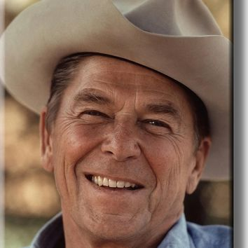 Ronald Reagan in Cowboy Hat Portrait Picture on Acrylic , Wall Art Décor, Ready to Hang