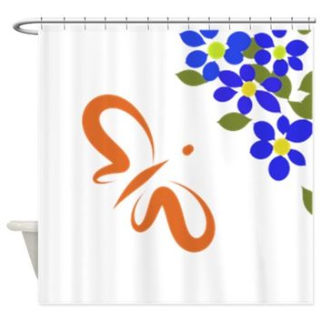 STYLIZED BUTTERFLY & BLUE FLOWE SHOWER CURTAIN