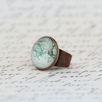 Statement Ring, Map Ring, Gift For Traveler, World Map, Map Jewelry, Gift For Woman