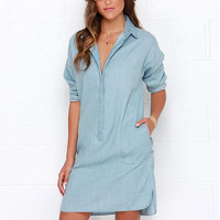 Blue Long Sleeve Shirt Dress