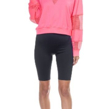 MESH LONG SLEEVE PULLOVER SWEATER NEON PINK