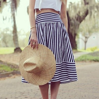 Blue Striped Puff Skirt - Sheinside.com