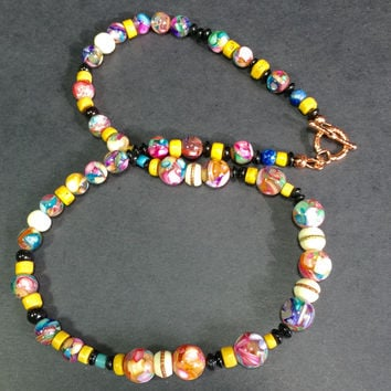 "21"" Multifaceted Mother of Pearl and Tibetan/Nepal beads Necklace, toggle clasp"