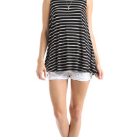 BOLD STRIPED TANK TOP - BLACK