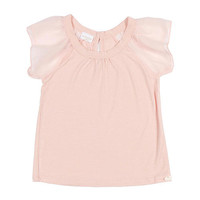 Kardashian Kids Girls' Light Pink Knit Shirt with Woven Flutter Sleeves - Toddler