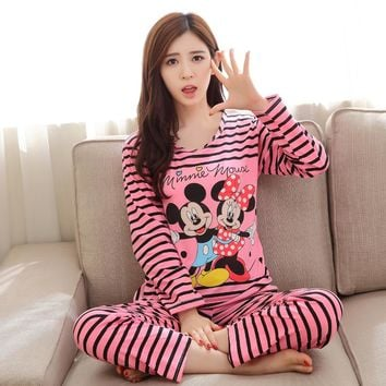 Pajama Long Sleeve women Sleepwear Autumn spring Carton Cotton Pajamas Mujer Women Clothes