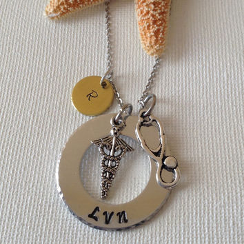 Licensed vocational nurse necklace or keyring, LVN, medical professionals, gifts for nurses, gifts for LVN, handstamped