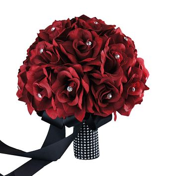 "10"" Rose Apple Red Bridal Bouquet with Rhinestones - Artificial Flowers"