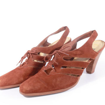 80s Vintage Suede Sandals Rich Tan Cut Out Lace Up Slingback Pumps Boho Hipster Retro Shoes Women Size US 9.5 UK 7.5 EUR 40