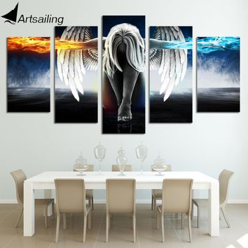 HD Printed 5 piece canvas art angel with wings painting anime room decor print poster wall art Free shipping/up-874