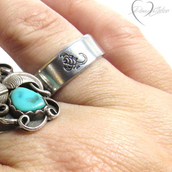 Scorpion Ring - Handstamped Ring - Scorpion Jewelry - Scorpio Ring - Unisex Ring - Handstamped Jewelry - Silver Ring - Personalized Ring