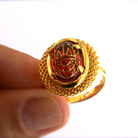 Ruby Red Scarab Ring Adjustable Vintage Oval Glass Cabochon with Egyptian Gold Etched Scarab Design