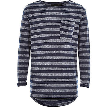 River Island Boys navy grey stripe pocket t-shirt