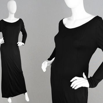 Vintage 70s YUKI of London Black Jersey Dress Slinky Evening Gown Long Black Dress Designer Maxi Dress Column Dress Scoop Neck Drape Rayon