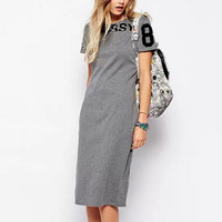 Women letters print Dress vintage O neck sleeve s caal slim QZ1869