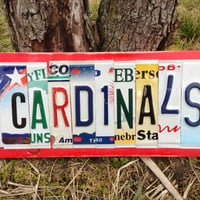 CARDINALS Custom Recycled License Plate Art Sign Ooak St Louis Arizona Louisville Stanford