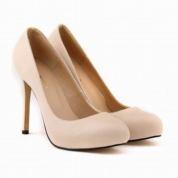WOMENS Matte PU Leather HIGH HEEL Platform patent POINTED TOE CORSET STYLE WORK PUMPS COURT SHOES US4-11