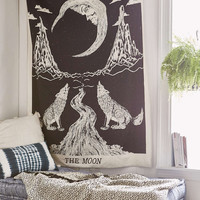 Moon Wolf Wall Boho Hanging Tapestry