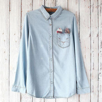 Cat embroidered pocket denim shirt