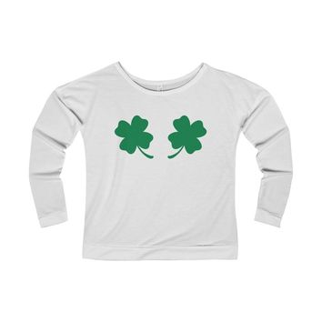 Chest Clovers Women's French Terry Long Sleeve Scoopneck Tee