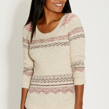 pullover sweater with patterned stripes