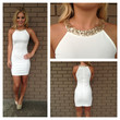 Gold Sequin Neckline Mini Dress- White