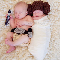 Star Wars Luke + Leia Crochet hat and diaper set Twins photography prop