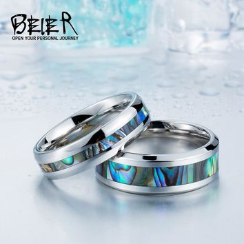 BEIER Stainless Steel Shells Simple Ring Woman$man Wedding Fashion Ring BR-R060