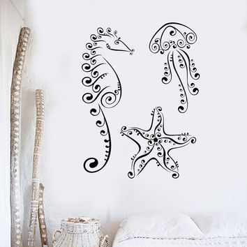 Wall Decal Jellyfish Seahorse Starfish Marine Animal Sea Vinyl Stickers Unique Gift (ig2967)
