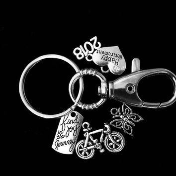Find Joy in the Journey Retirement FOB Keychain Silver Key Chain Coworker Gift Bicycle Butterfly 2018 Happy Retirement Present