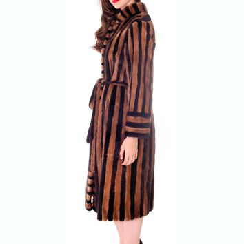 Mink Coat Wrap Style Color Block Unique Black & Blond Striped Soukko Finland S M