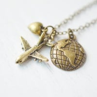 travel necklace,aviation jewelry,pilot gift,airplane necklace,stewardess jewelry,aircraft travel,pilot bridesmaid gift,bff necklace,airplane