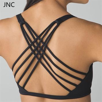 Cute Criss Cross Black Yoga  Lightweight Bra